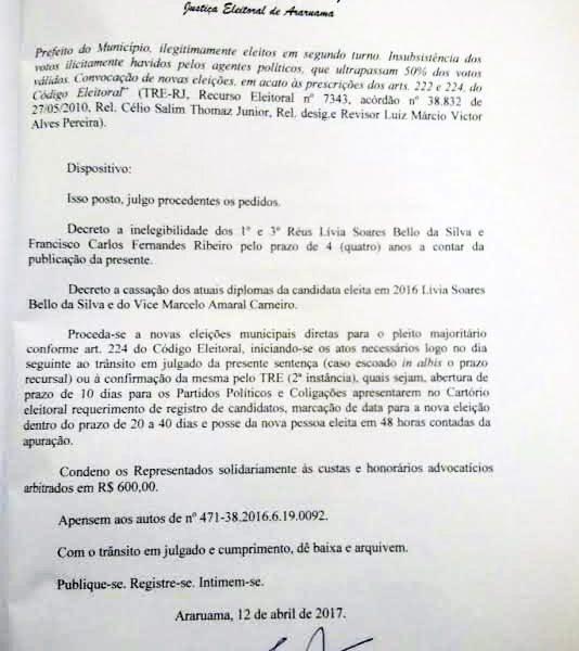 """PRIMEIRA """"VIÚVA DO TSE"""" PERDE SEU MANDATO NA REGIÃO DOS LAGOS"""